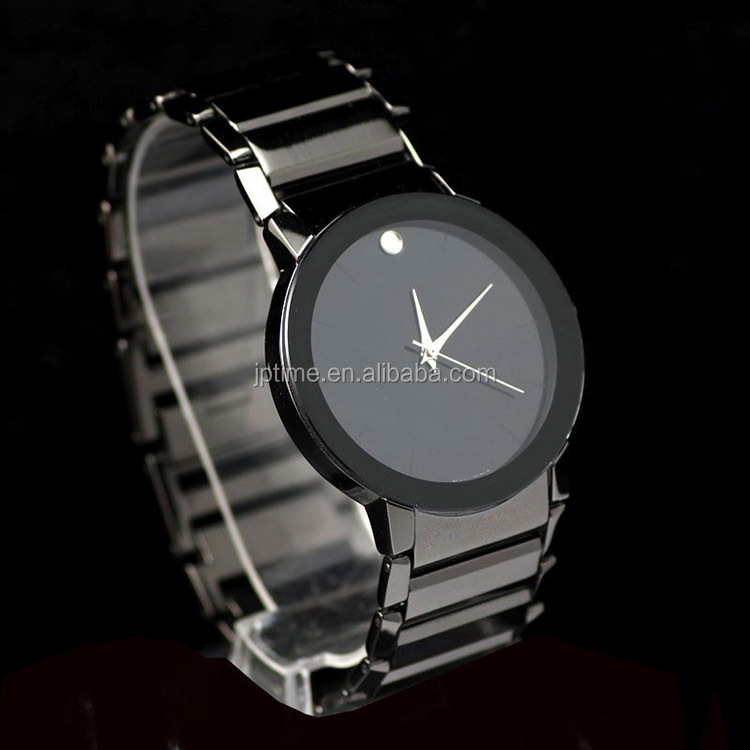 High Quality All Shiny Black Japan Movement Watch Stainless Steel ...