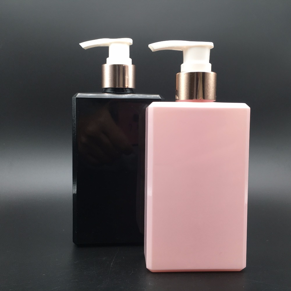 250ml Plastic Square Bottle with Lotion Pump Dispenser for Body Cream