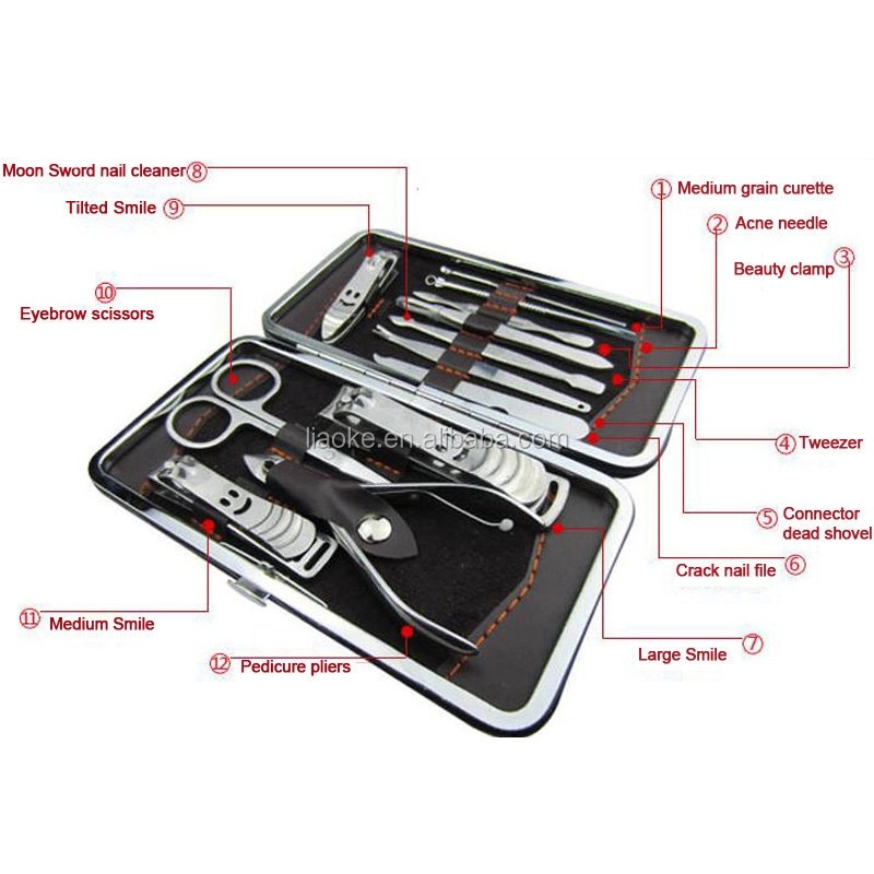 High quality Stainless Steel 12Pcs Manicure Set Pedicure Set With Case Nails Clipper Kit