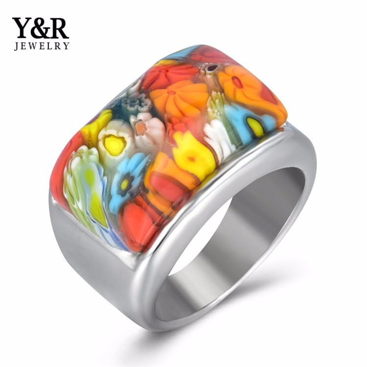 latest womens stainless steel rings handmade murano galss jewelry ring