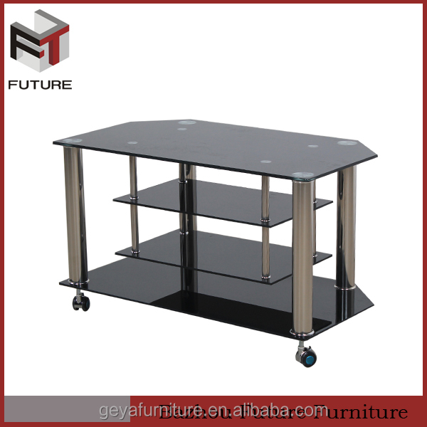 metal glass moving modern design metal tube tv stands