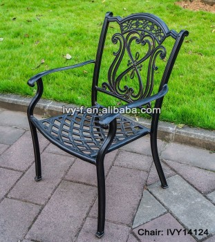 Outdoor Metal Furniture Cast Aluminum Chair Bronze Color Garden Stackable  Chair Dining Chair With Armrest #