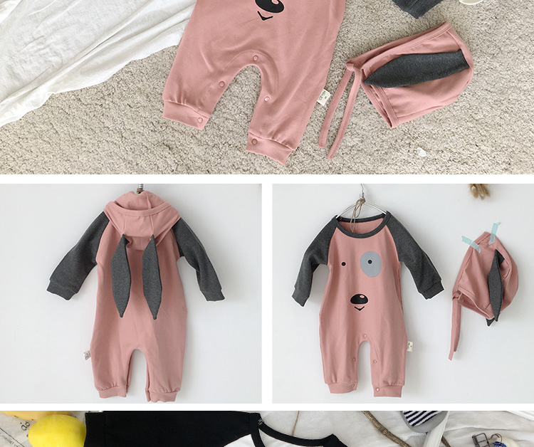 Spring autumn fashion baby girl hooded jumpsuit cute 0-3 year old pajamas baby warming clothes rompers 1666