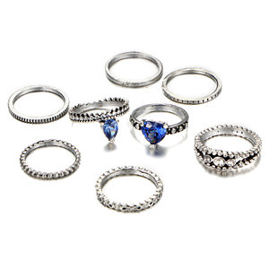 Alloy Crystal Waterdrop and Love Shape 8 Pieces Set Knuckle Rings Chic Vintage Fashion Jewelry Wholesale