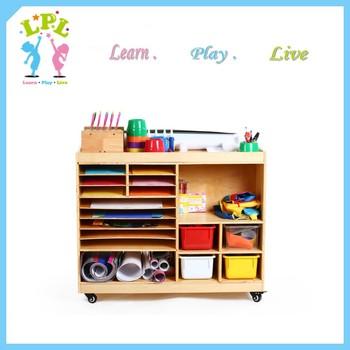 School Furniture Art Storage For Children Eco Friendly Solid Wood Kids Art  Storage