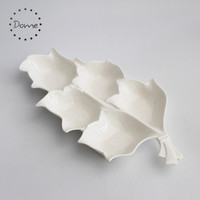 Wholesale white porcelain 5 decorative leaf shape ceramic fruit plate