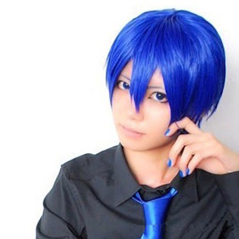 get quotations cool boy msn anime cosplay dark blue side bang short straight halloween costume party hair wig