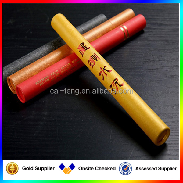 Custom special long tube paper box paper cylinder for incense packaging