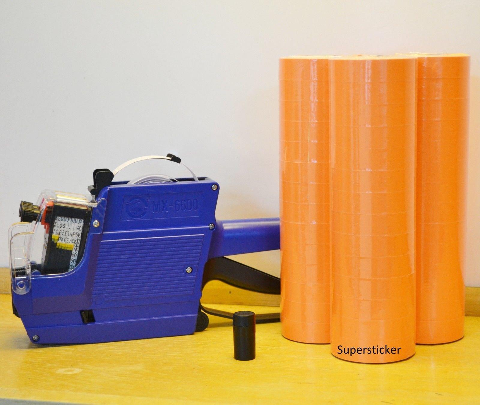 Mx-6600 10 Digits 2 Lines Price Tag Gun labeler +1 Ink + 42 Rolls Orange 500 Tag