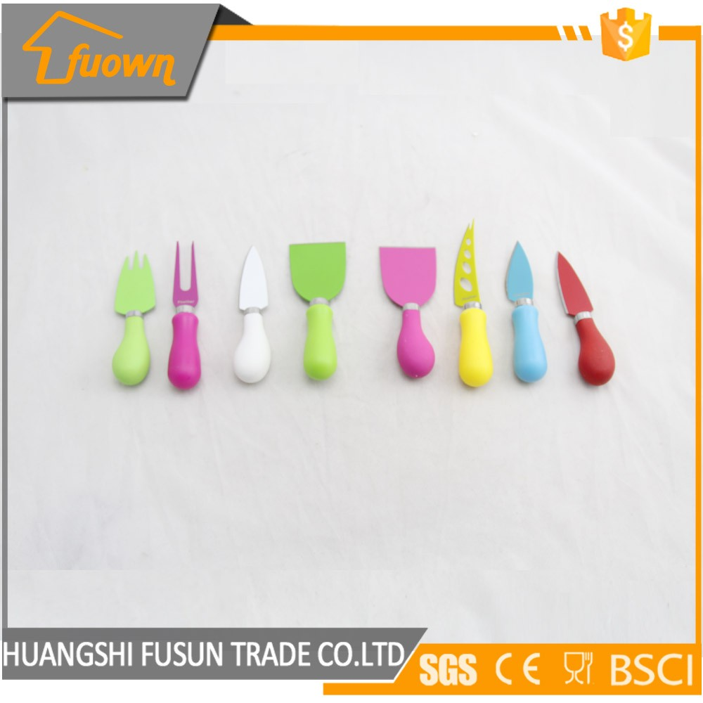 Rainbow color cheese cutting tools stainless steel cheese knives set
