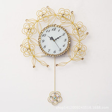 Wholesale large metal decorative wall clock with pendant flower design crystal diamond accent and arabic numbers for living room