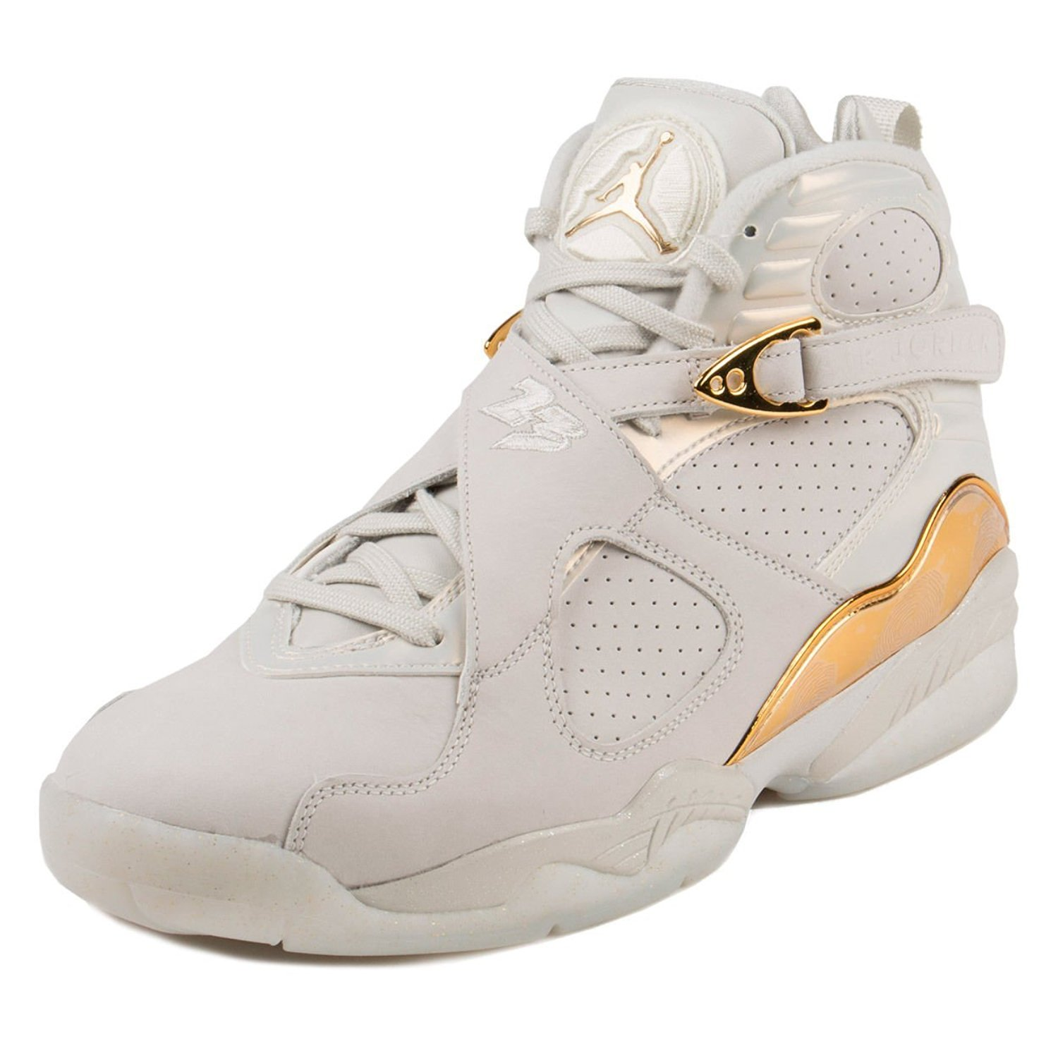 Nike Mens Air Jordan 8 Retro C&C Light Bone/Metallic Gold Leather