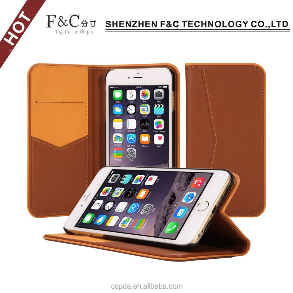 Hot selling 4.7 inch mobile flip leather case cover for iphone 6,colors combination design for card slots cover with stand