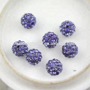 Purple Loose Rhinestone Disco Ball Beads jewellery Wholesale Beads