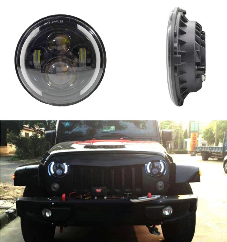 JHS Factory Supply Wholesale 7 inch round led headlight h4 12V 24V 7inch for jeep led headlights for jeep wrangler