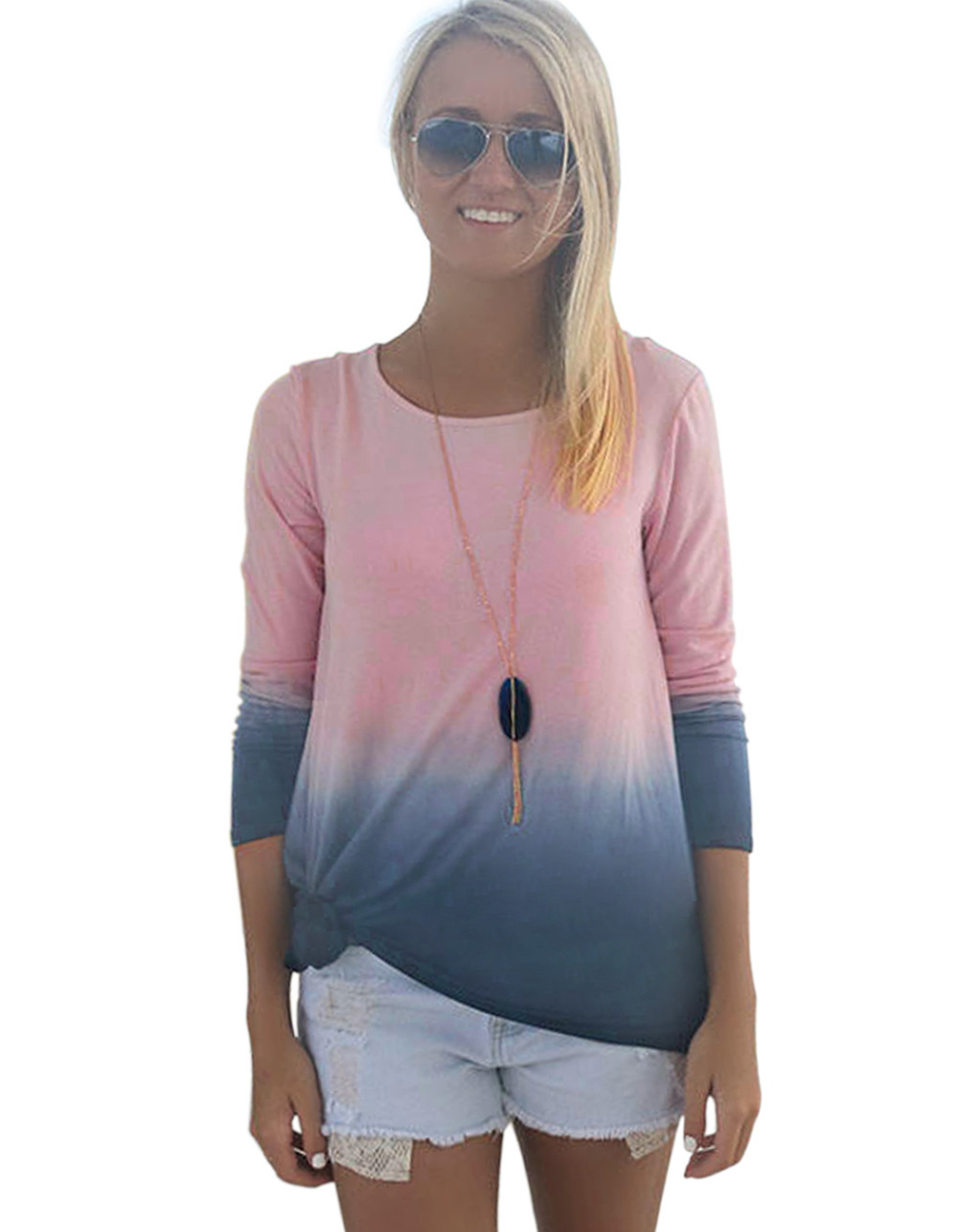 da6bd2b91f1b4 Get Quotations · Contrast color women T-shirt pink tops casual ladies long  sleeve loose tees tops plus