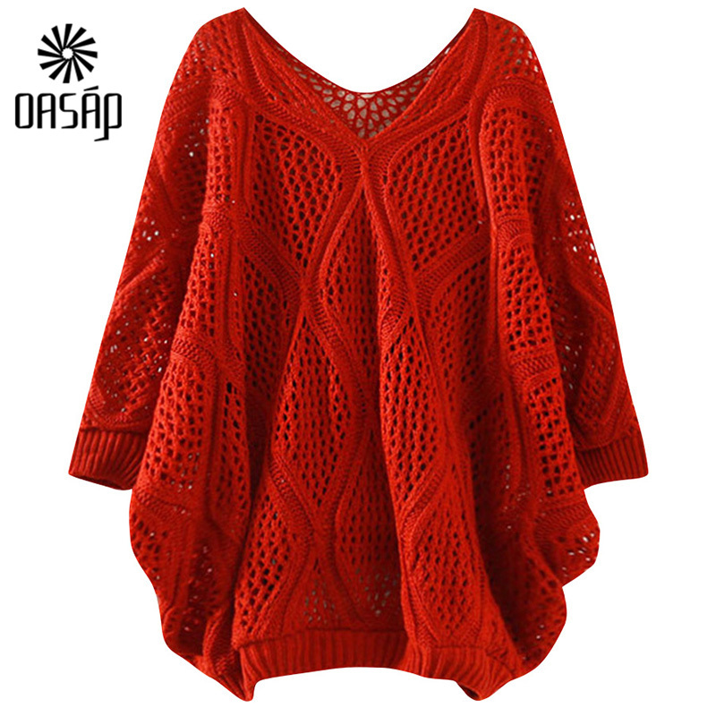 93fec4625cd6 Get Quotations · OASAP Women Round Neckline Half Sleeves Loose Cutout Long  Sleeve Solid Pullover Sweater Chic Women Red