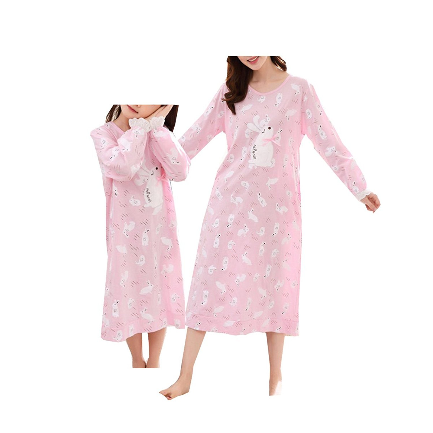 0bd22d2b7900b Get Quotations · BAIYIXIN Fashion Store Cute Rabbit Littele Girls and Bigs  Girls Cotton Pajamas Set Pink Sleepwear Homedress