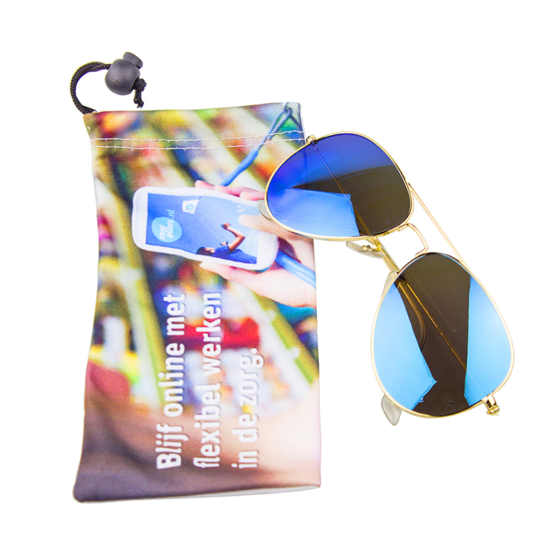 Custom logo printed microfiber sunglasses pouch glasses bag with drawstring