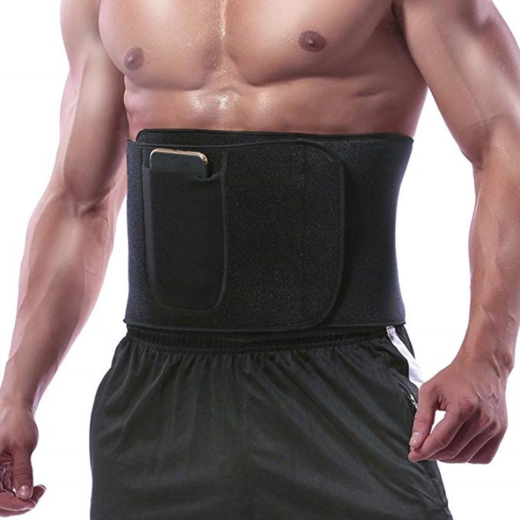 Hot Waist Trimmer Men & Women Abdominal Trainer Neoprene Sweat Belt for Weight Loss With Phone Pocket