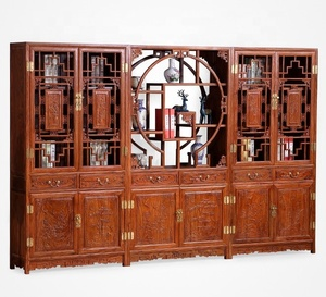 Rosewood furniture hand carve solid wood glass wine showcase display shelve curio cabinet