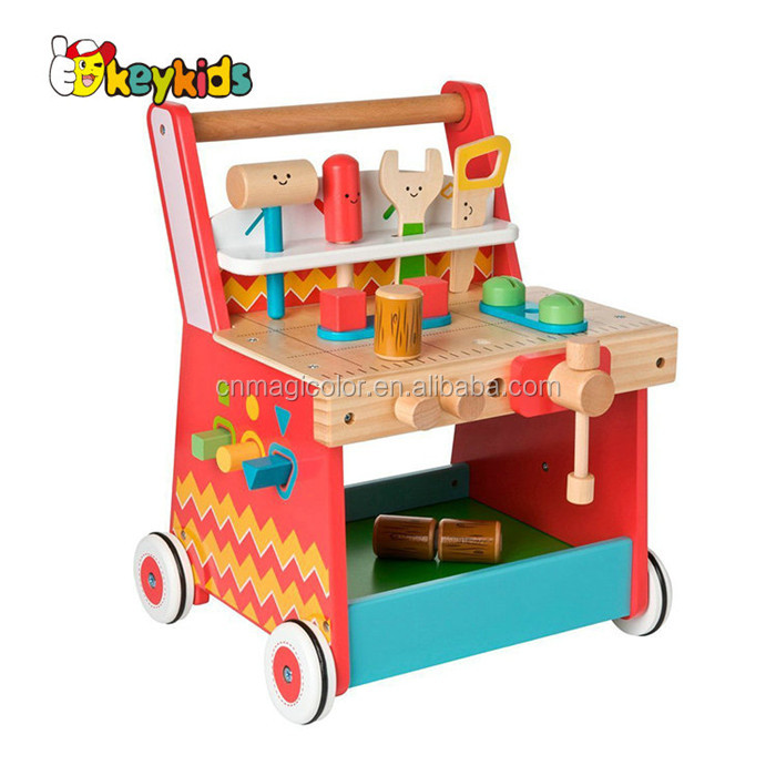 Wholesale wonderful multi-function wooden first baby walker contains of tools set toy W16E087