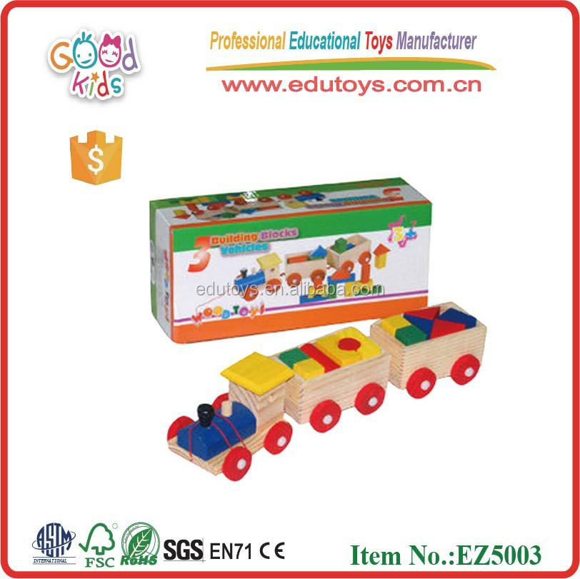 Wholesale & OEM Wooden Pulling Along Toys For Kids Three Carriages Wood Train Set
