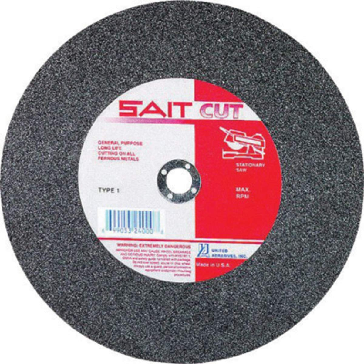 """United Abrasives 20"""" X 3/16"""" X 1"""" A36R 36 Grit Aluminum Oxide Type 1 Cut Off Wheel, Package Size: 5 Each"""