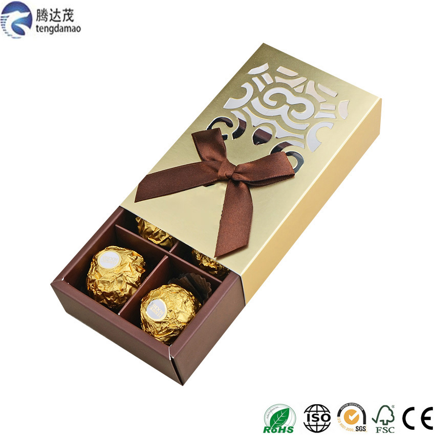 2017 popular custom Printed Coloured drawer Paper Boxes Chocolate Packaging gift box