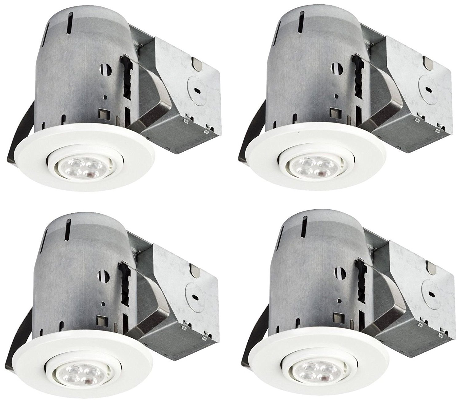 3-Inch, White Finish 4-Pack White Finish Globe Electric 90718 LED IC Rated Swiv -MP#GH4498 349Y49HBRG9108046