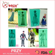 New Frozen 4pcs/Lot Elsa Anna Hans Kristoff Silicone Mold Ice Fondant Cake Chocolate Decorating Kitchen Bakeware Cooking Tools
