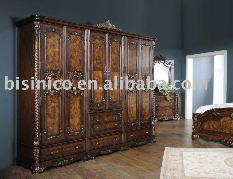 عنصر جديد       فاخر العتيقة خزانة خشبية الملابس كبيرة الحجم، أثاث