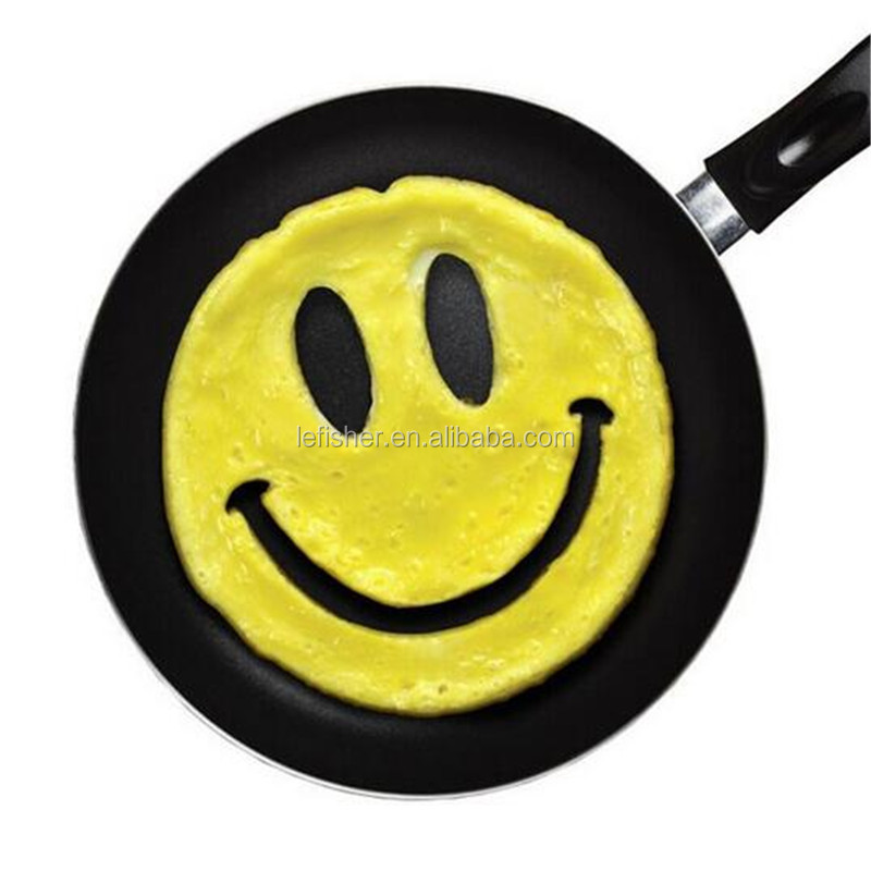 Silicone Breakfast Eggs Mold Ring Pancake Mold Ring Nonstick Cute Shaper Eggs Fried Frying Mould (Smiley Face)