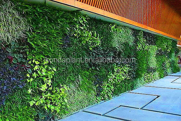 Home Decorations Artificial Living Wall For Indoor Plastic Big Green Leaves  Fake Vertical Green Wall