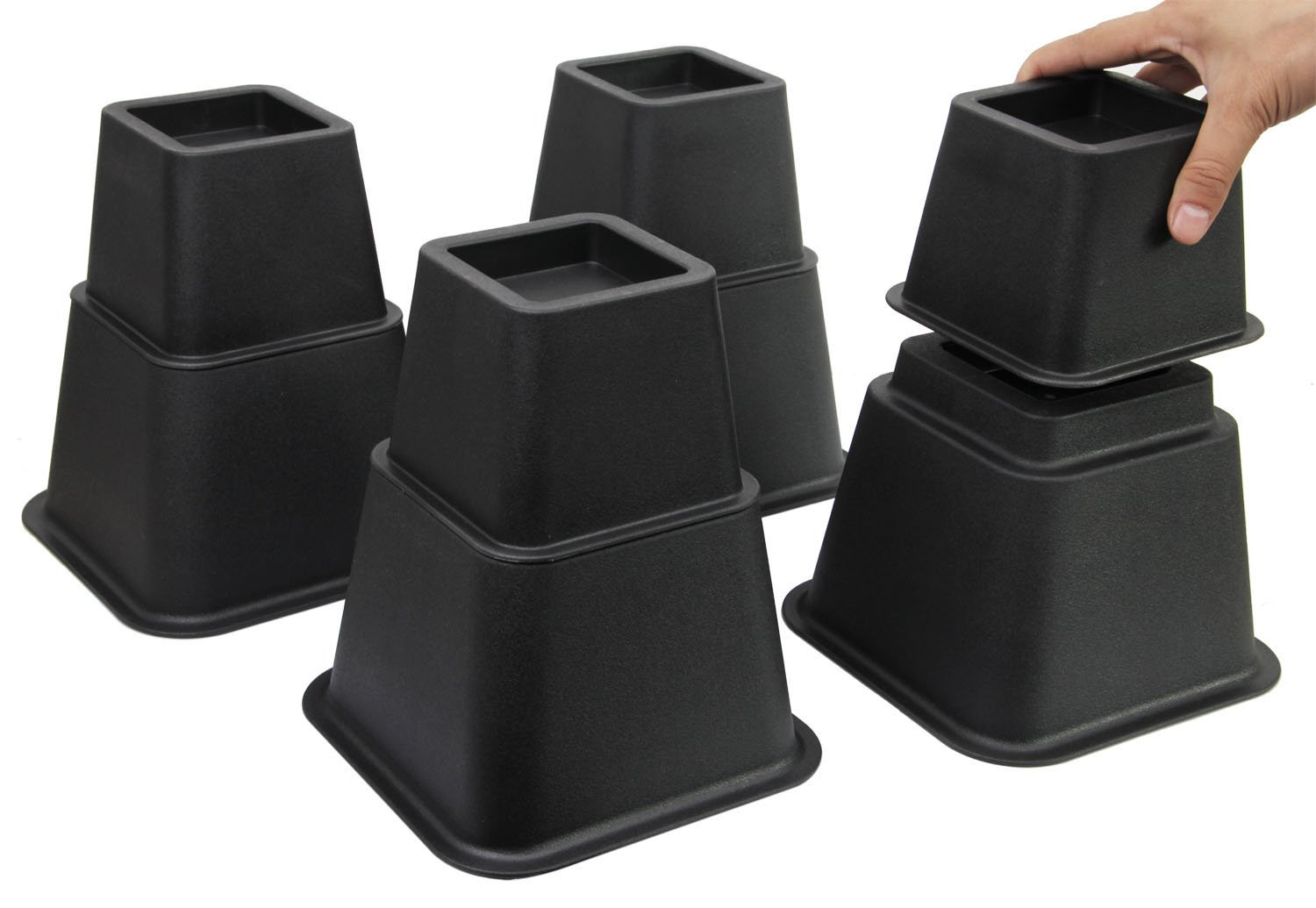 Easygoing Adjustable Bed Risers-3 Height Option Risers, Furniture Riser Bed Riser and Bed Lifts, Set of 4