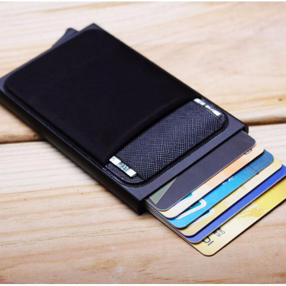 Aluminum <strong>Wallet</strong> With Back Pocket ID Card Holder RFID Blocking Mini Slim Metal <strong>Wallet</strong> Automatic Pop up Credit Card Coin Purse