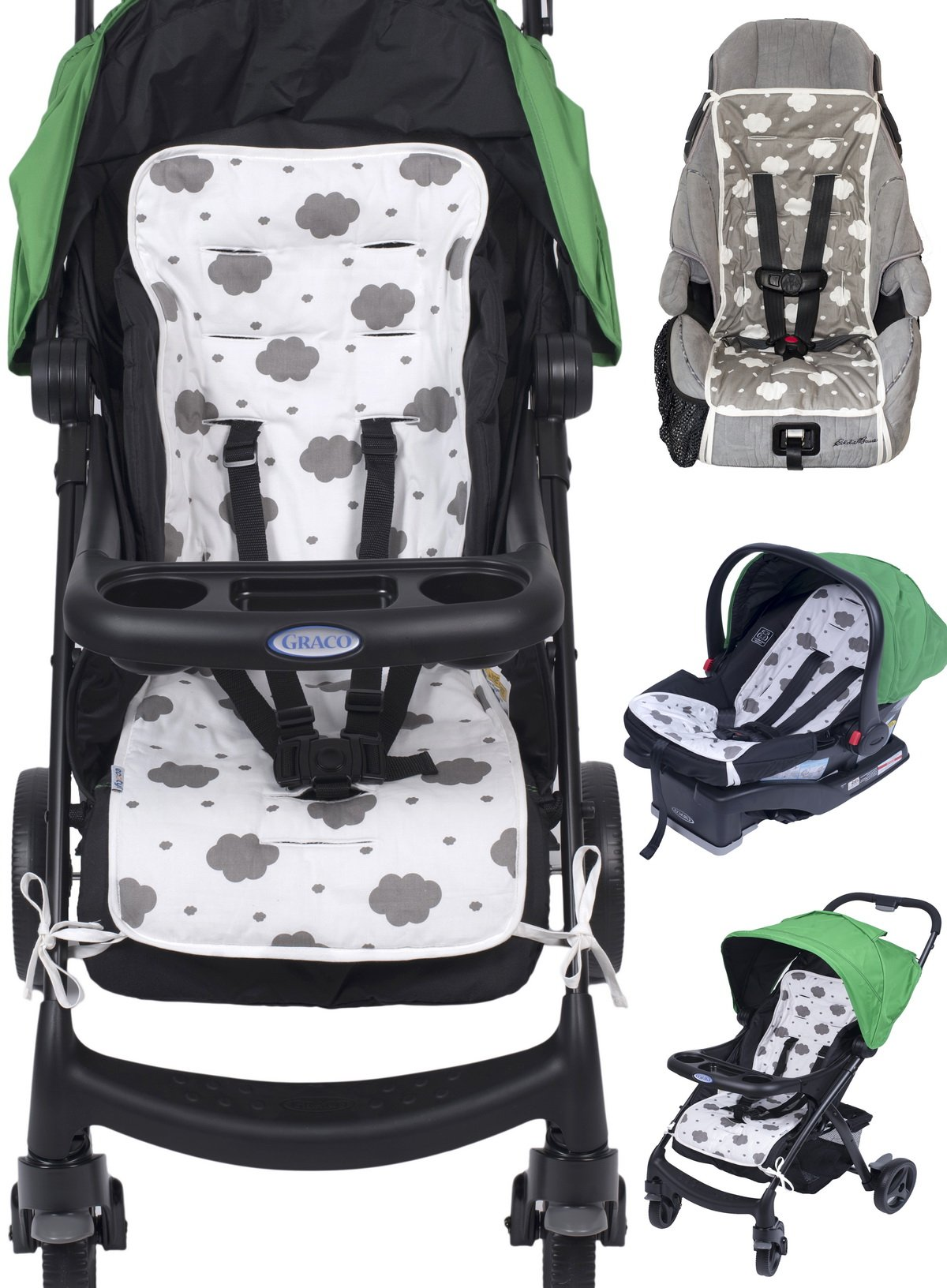 d5365acf484 Get Quotations · Reversible Pure Cotton Universal Baby Seat Liner for  Stroller