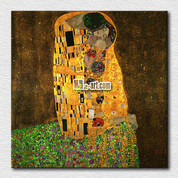 Canvas Prints Oil Painting Reproduction Kiss Gustav Klimt Ready To