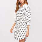 Woman blouse wholesale manufacturer white polka dot curved hem latest shirt designs for women