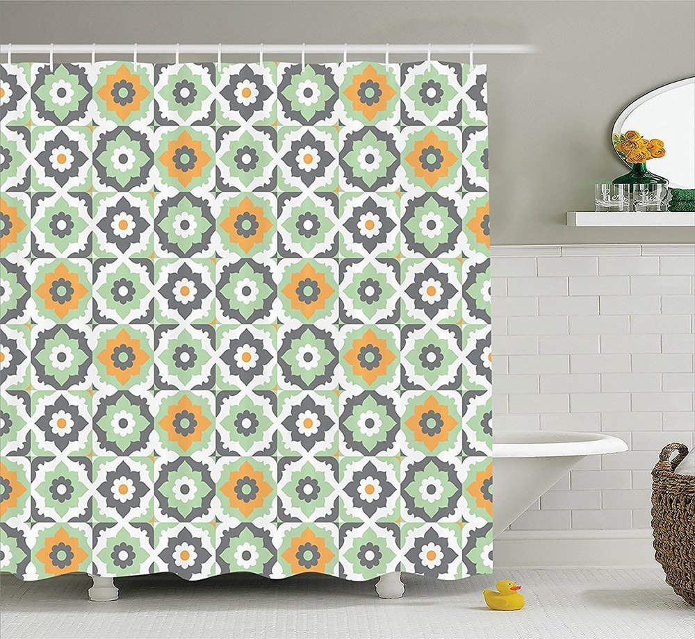 Quatrefoil Decor Collection Lotus Figures Floral Shapes Moroccan Tile Pattern Eastern Inspired Retro Print Polyester Fabric Bathroom Shower Curtain Set Yellow Green Grey