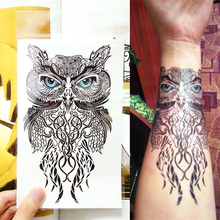 Owl Flash Tattoo Sticker 12*20cm Waterproof Harajuku Henna Beauty Summer Style 2015 Temporary Body Art FREE SHIPPING