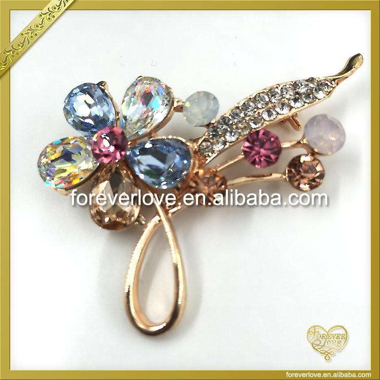 Crystal Ab Flower Wedding Brooches Rhinestone Korean Sherwani ...