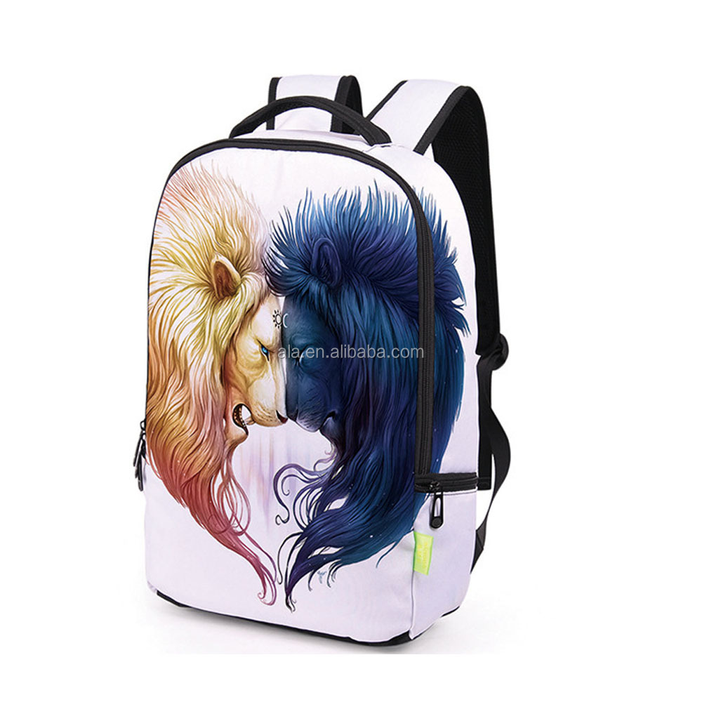 Two lion head printing 3D backpack fashion hot design colorful white backpack
