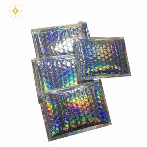 Glamour Holographic bubble Zip Lock Bag Plastic For Glitter Lipstick Packaging