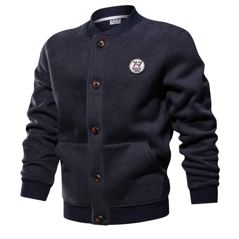 Mens Baseball Jacket,Winter Solid Button Up Bomber Jacket Sweatshirt Plus Size Cotton Outwear Coat Zulmaliu