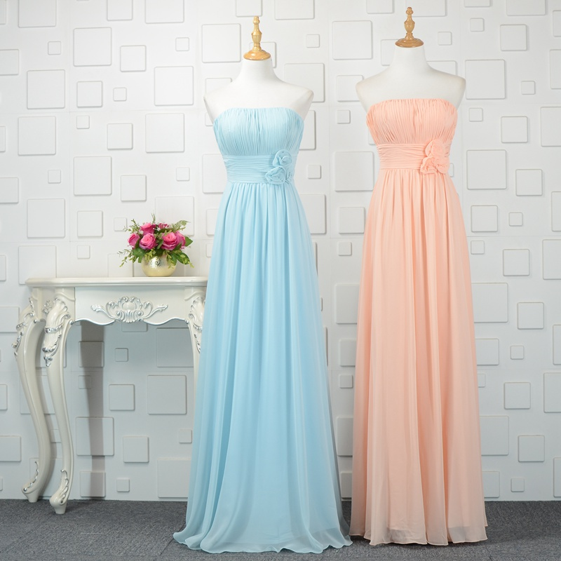 Blue/Pink Strapless Long Chiffon Bridesmaid Gown 2018 Most Popular Bridesmaid Dresses
