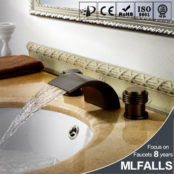 Oil Rubbed Bronze Double Handles Waterfall Bathroom Sink Faucet Deck Mount Wash Basin Mixer Tap Three