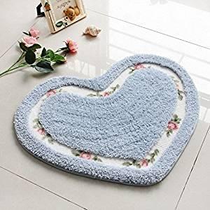Get Quotations · Pretty Floral Rose Heart Shape Bath Rug Floor Mat Non Slip  Pad Wedding Decor Bedroom
