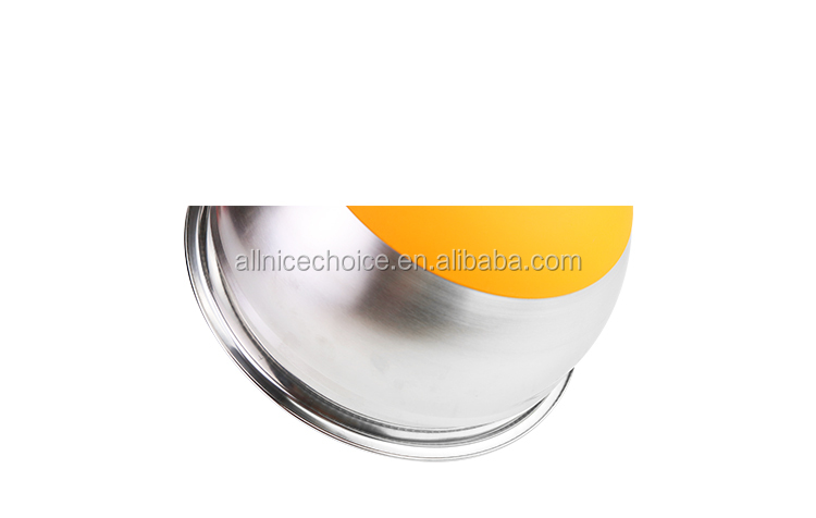 American style stainless steel silicone bottom mixing bowl salad bowl with plastic lid
