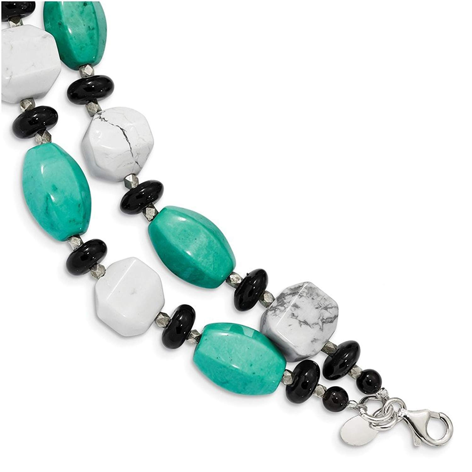 Lex & Lu Sterling Silver Blk Agate/White Howlite/Recon. Turq. Bracelet or Necklace